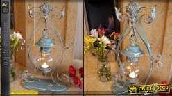 Lanterne vintage suspendue patine bleu antique