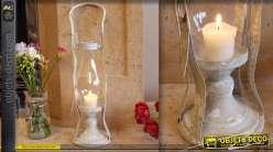 Lanterne décorative vintage patine blanc antique