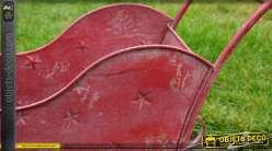 Traineau de Père-Noël rouge en métal style vintage