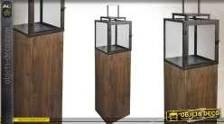Lanterne de jardin en métal bois et verre (114 cm)