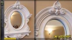 miroir oeil de boeuf style baroque patine blanche. Black Bedroom Furniture Sets. Home Design Ideas
