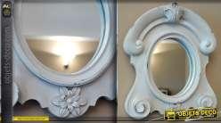 Miroir oeil de boeuf de style ancien finition blanc antique