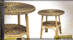 Table ronde en moelle de rotin Ø 57 cm