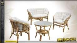 Salon complet avec canapé deux places en rotin écorcé teinté