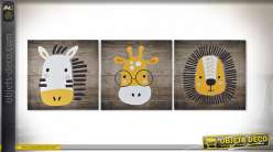 TABLEAU TOILE PIN 40X1,8X40 ANIMAUX 3 MOD.