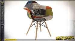 Chaise motif patchwork multicolore style Boho, 83cm