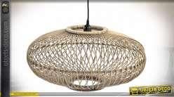 Suspension luminaire ovale en bambou finition naturelle style tropical, 56cm
