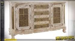 Buffet rustique rétro en manguier 2 portes 4 tiroirs blanc vieilli