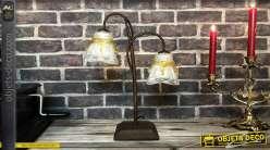 Petite lampe d'appoint en métal finition brun, 2 dômes en verre translucide et coulures ambrées, 43cm