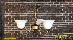 Lustre en métal de style rétro, finition doré ancien, 3 branches et 3 feux, dôme en verre fumé blanchi, 56cm
