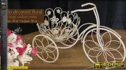 Vélo décoratif floral en fer forgé crème