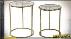 Série de deux tables basses globe-trotters finition dorée, 50cm