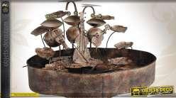 Fontaine grenouilles en métal avec pompe et éclairage