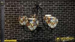 Lustre de style Tiffany à 5 feux, ossature en métal finition vieux bronze et tulipes en vitraux colorés, Ø62cm