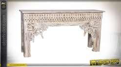 Console en bois de manguier sculpté blanc décapé style romantique, 150cm