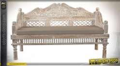 Banc d'intérieur en bois d'acacia sculpté effet vieilli style rustique, 156cm