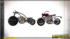 HORLOGE POSER FER ACRYLIQUE 36X14,5X19 MOTO 2 MOD.