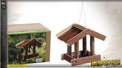 Mangeoire pour oiseaux en bois à suspendre