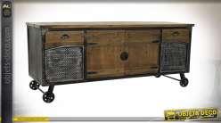 Meuble d'appoint de salon en bois et métal, style industriel avec grandes roues 151cm