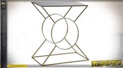 Console en métal style moderne géométrique, finition doré et noir mat 74cm