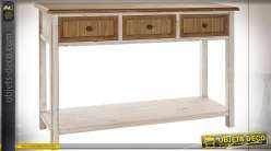 Console style cottage en bois de sapin finition naturelle et blanc vieilli, 120cm