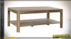 Table basse style chalet en bois massif de sheesham finition naturelle, 115cm