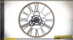 Horloge murale avec engrenages style industriel, 80cm