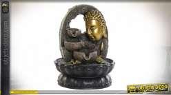 Série de deux fontaines décoratives en résine avec bouddha finition doré, 27cm