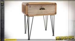 Table de chevet en bois, finition naturelle, de style industriel, pieds design 60cm