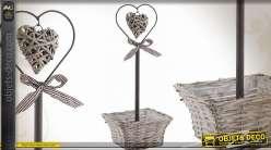 Jardinière avec corbeille et coeur en éclisse