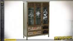 Meuble de salon en bois et métal, style voyageur avec motifs de cartes et rose des vents, 130cm