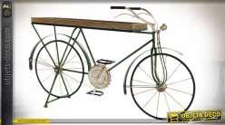 Console en forme de vieux vélo vert esprit rétro, finition vintage, 95cm