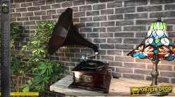 Gramophone en bois finition acajou, grande corne en métal, fonctionnel, reproduction des années 30