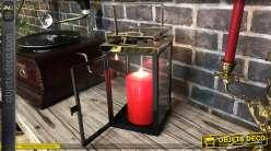 Petite lanterne en métal de style moderne, finition doré chromé et noir, 34cm de hauteur finale
