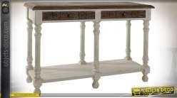 Console de sapin finition naturelle et blanche effet vieilli, pieds tournés, 121.5cm