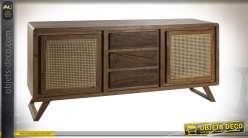 Buffet en bois d'acacia et rotin style vintage, portes à devanture en cannage, 175cm