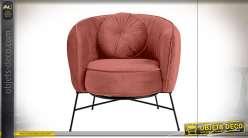 Fauteuil et coussin rouge tomette fintion velours esprit vintage, 78cm