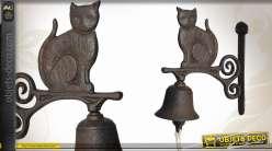 Cloche de porte en fonte motif chat