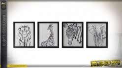 Série de quatres tableaux noirs et blancs des animaux de la savane, 55cm