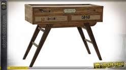 Console présentoir vitrée en bois esprit meuble de métier, 100cm