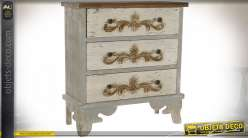 Commode style rustique en bois de sapin patine tricolores vieillie, 93.5