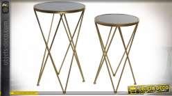 TABLE AUXILIAIRE SET 2 MÉTAL VERRE 40X40X64,5 MAT