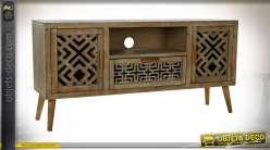 Meuble TV en bois sculpté de formes géométriques style ethnique, 140cm