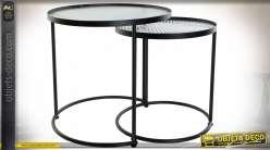 TABLE AUXILIAIRE SET 2 MÉTAL VERRE 45X45X45 NOIR