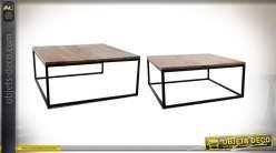 Série de deux tables basses gigognes style industriel, 90cm