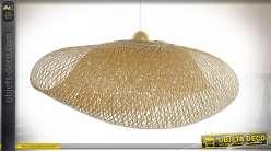 Suspension luminaire en bambou modulabe finition naturelle style exotique, 105cm