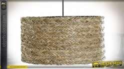 Suspension luminaire circulaire style boho en fibre végétale tressée finition naturelle, 42cm