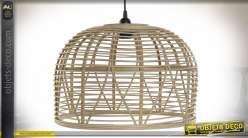 Suspension luminaire en bambou esprit tropical, 41cm