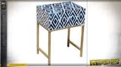 TABLE DE CHEVET MANGUE OS 45X31X60 FLORAL BLEU