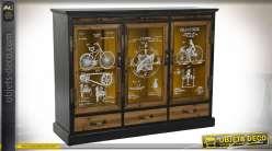 Buffet vitrine esprit créations d'inventeur finition noire et jaune moutarde, 100cm